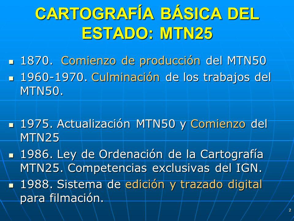 2 CARTOGRAFÍA BÁSICA DEL ESTADO: MTN25 1870. Comienzo de producción del MTN50 1870. Comienzo de producción del MTN50 1960-1970. Culminación de los tra