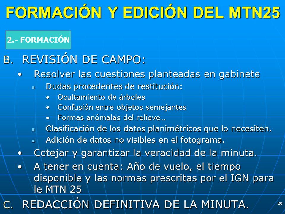 20 FORMACIÓN Y EDICIÓN DEL MTN25 2.- FORMACIÓN B. REVISIÓN DE CAMPO: Resolver las cuestiones planteadas en gabineteResolver las cuestiones planteadas