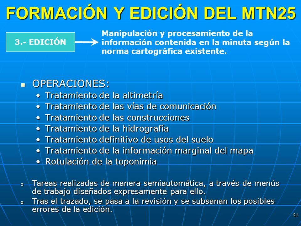 21 FORMACIÓN Y EDICIÓN DEL MTN25 3.- EDICIÓN Manipulación y procesamiento de la información contenida en la minuta según la norma cartográfica existen