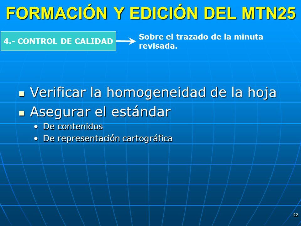 22 FORMACIÓN Y EDICIÓN DEL MTN25 4.- CONTROL DE CALIDAD Sobre el trazado de la minuta revisada. Verificar la homogeneidad de la hoja Verificar la homo