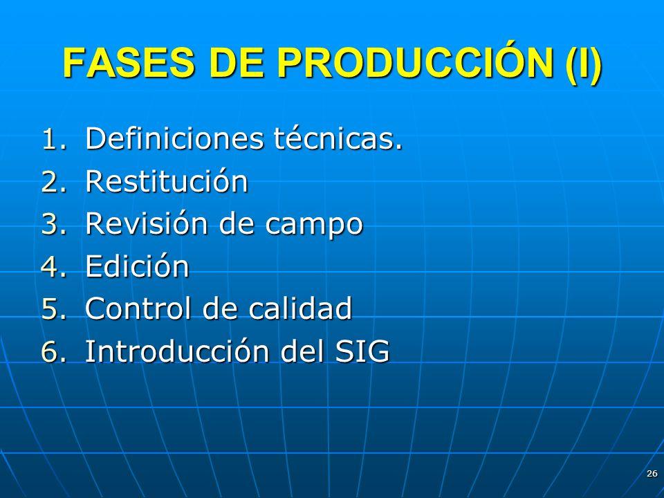 26 FASES DE PRODUCCIÓN (I) 1. Definiciones técnicas. 2. Restitución 3. Revisión de campo 4. Edición 5. Control de calidad 6. Introducción del SIG