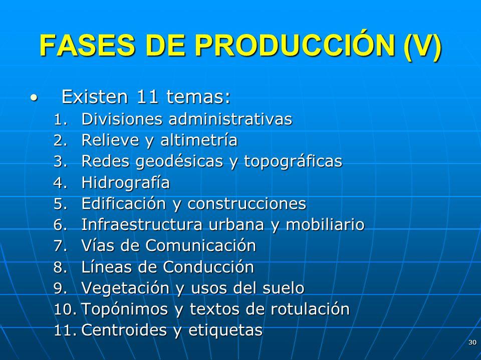 30 FASES DE PRODUCCIÓN (V) Existen 11 temas: Existen 11 temas: 1. Divisiones administrativas 2. Relieve y altimetría 3. Redes geodésicas y topográfica