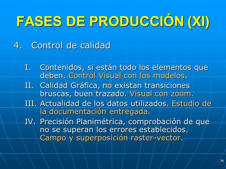 36 FASES DE PRODUCCIÓN (XI) 4.Control de calidad I.Contenidos, si están todo los elementos que deben. Control Visual con los modelos. II.Calidad Gráfi