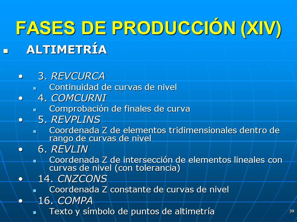 39 FASES DE PRODUCCIÓN (XIV) ALTIMETRÍA ALTIMETRÍA 3. REVCURCA3. REVCURCA Continuidad de curvas de nivel Continuidad de curvas de nivel 4. COMCURNI4.