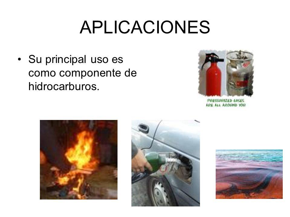 APLICACIONES Su principal uso es como componente de hidrocarburos.