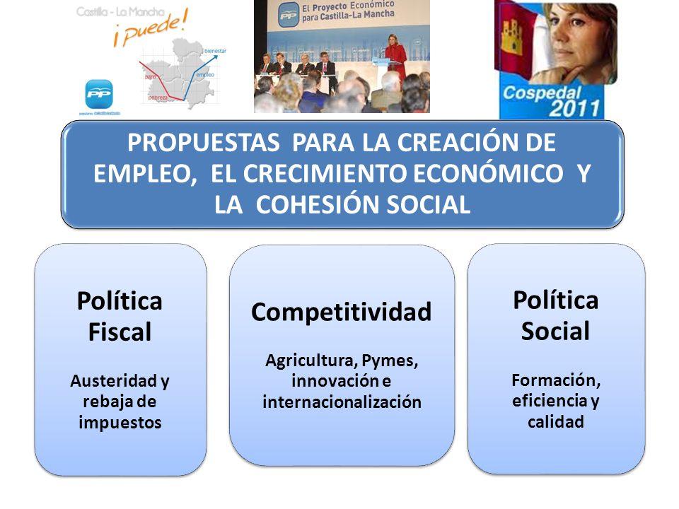 PROPUESTAS PARA LA CREACIÓN DE EMPLEO, EL CRECIMIENTO ECONÓMICO Y LA COHESIÓN SOCIAL Competitividad Agricultura, Pymes, innovación e internacionalizac