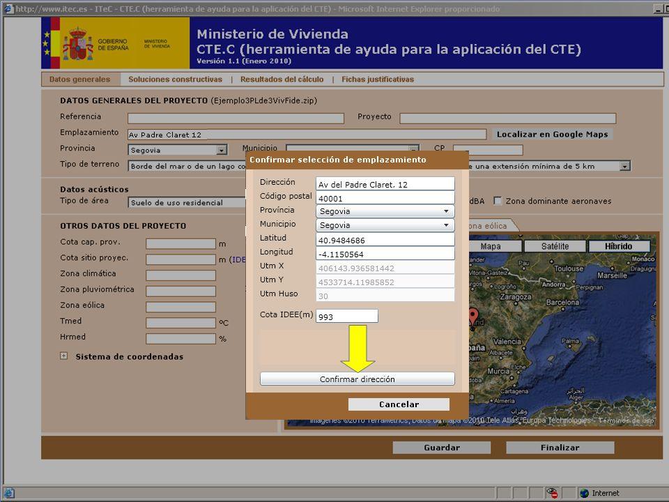 La altitud se determina a partir de las coordenadas UTM utilizando un servicio de la Infraestructura de Datos Espaciales de España (IDEE)