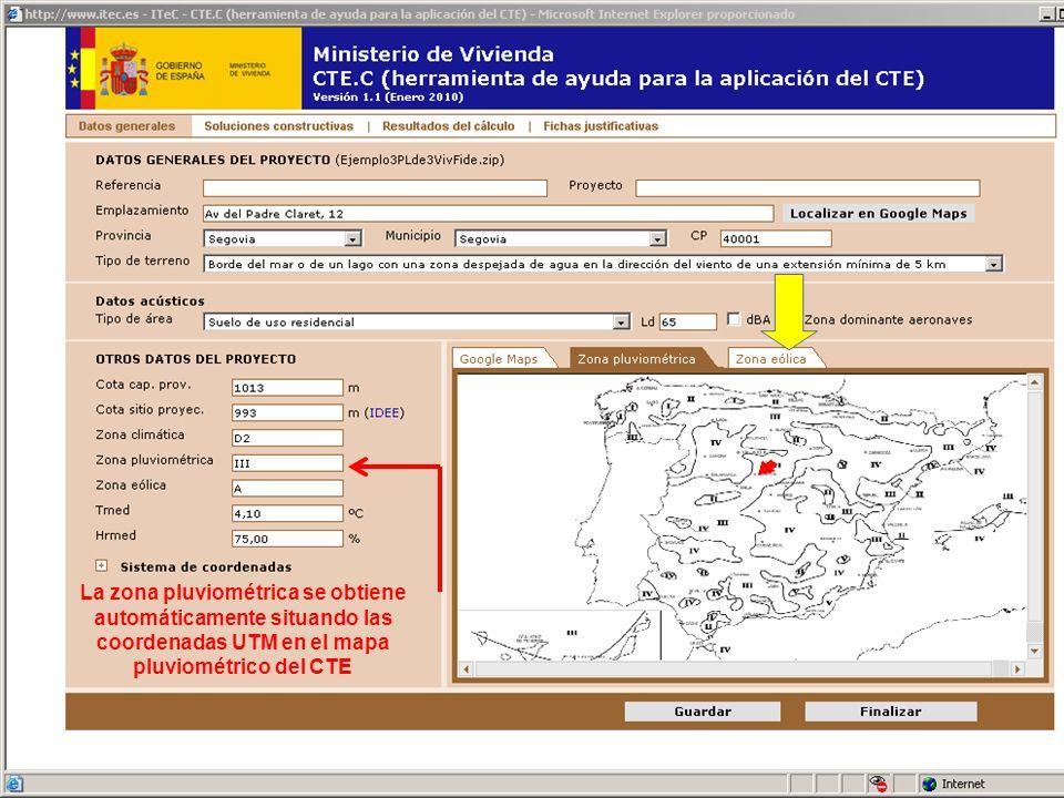 La zona eólica se obtiene automáticamente situando las coordenadas UTM en el mapa eólico del CTE