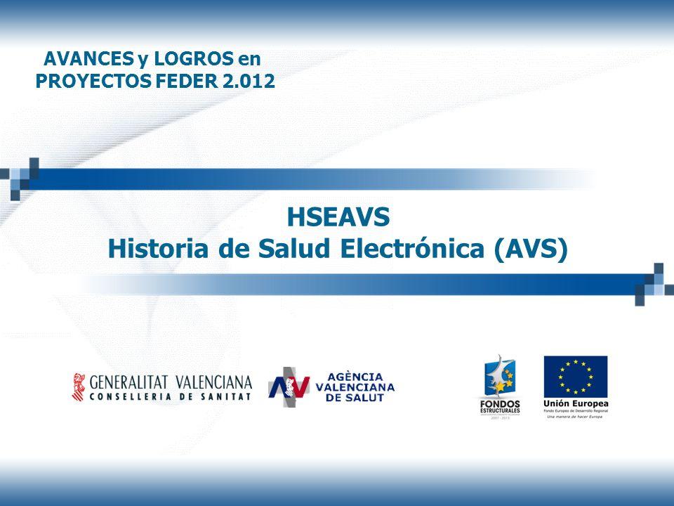 HSEAVS Historia de Salud Electrónica (AVS) AVANCES y LOGROS en PROYECTOS FEDER 2.012