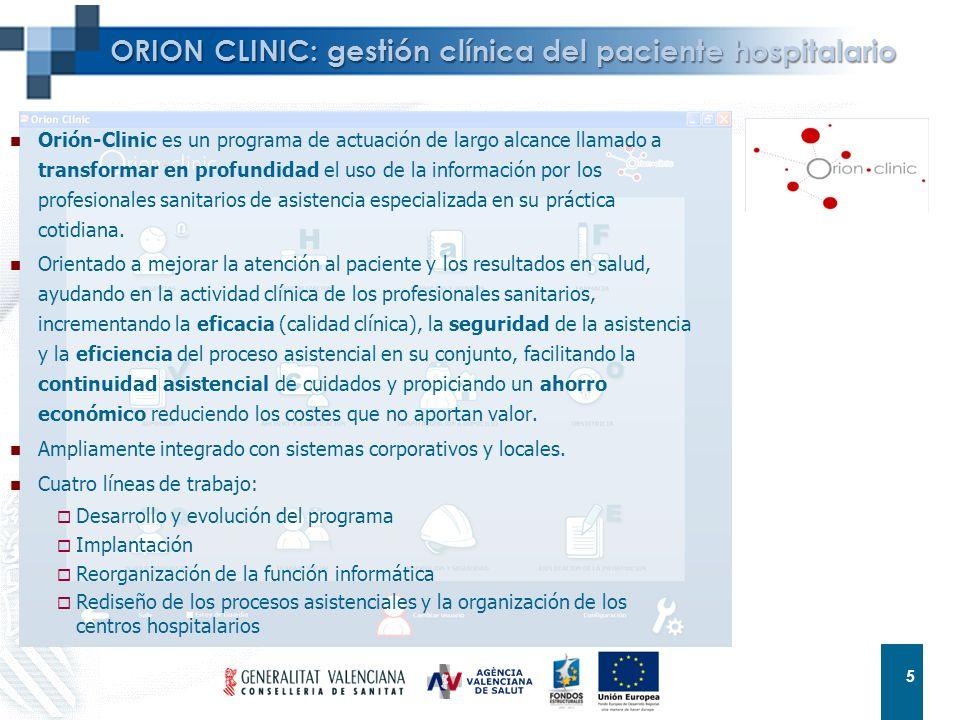 5 5 ORION CLINIC: gestión clínica del paciente hospitalario Orión-Clinic es un programa de actuación de largo alcance llamado a transformar en profund