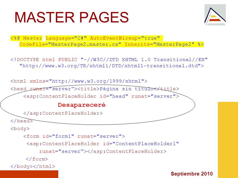 Septiembre 2010 MASTER PAGES Página sin título Desapareceré <asp:ContentPlaceHolder id=