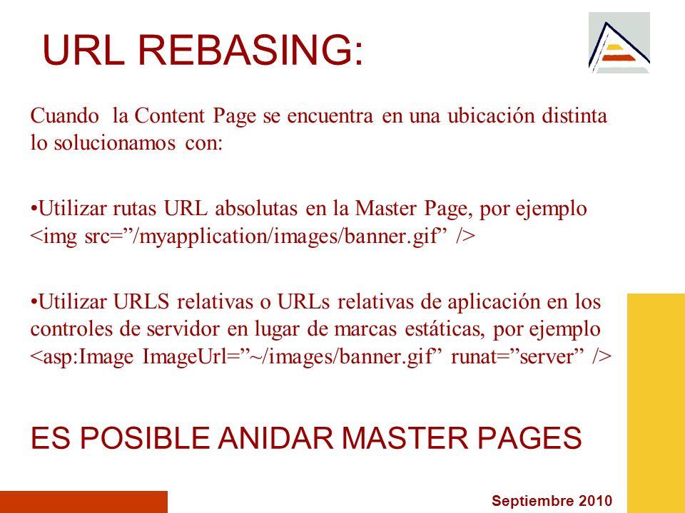 Septiembre 2010 URL REBASING: Cuando la Content Page se encuentra en una ubicación distinta lo solucionamos con: Utilizar rutas URL absolutas en la Ma