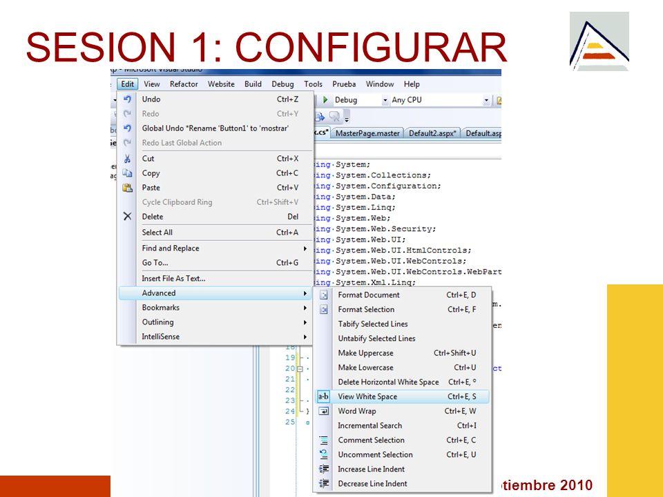 Septiembre 2010 SESION 1: PRIMERA CLASE <%@ Page Language= C# AutoEventWireup= true CodeFile= Default.aspx.cs Inherits= _Default %>