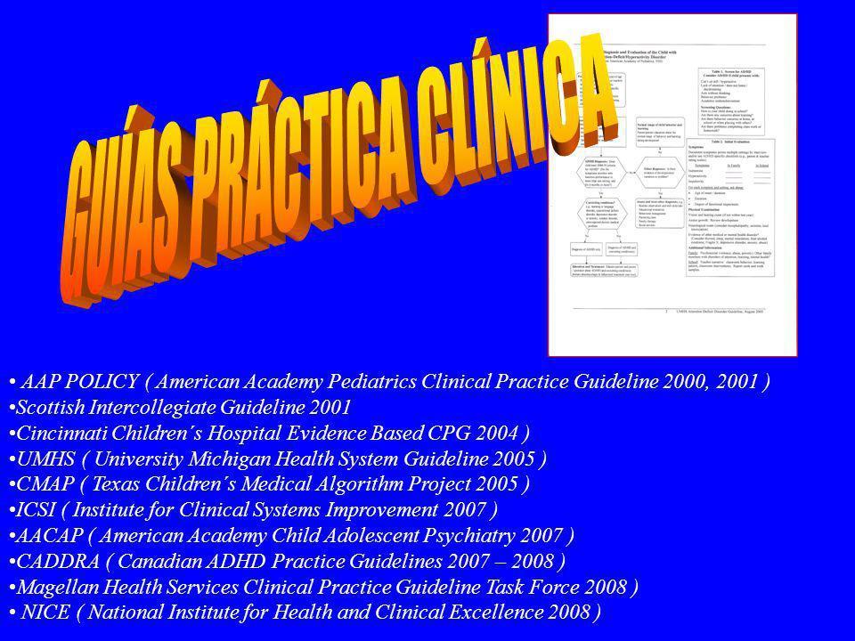 RECOMENDACIONES CON EVIDENCIA ( MS ) 1- En niños escolares ( 6-12 años ) con falta de atención, impulsividad, fracaso escolar y/o trastornos de conducta se debe excluir el diagnóstico de TDAH ( evidencia B ) 2- Evaluación = Entrevista clínica ( niño, padres ), criterios DSM-IV ( evidencia B ), Obtener información de padres ( evidencia B ) y profesores ( evidencia B ) revisión de historia personal y familiar 3- Descartar comorbilidad 4- El tratamiento ha de ser bien diseñado e integral ( Fármaco y/0 tto Conductual ) 5- El tratamiento psicofarmacológico inicial debe ser un fármaco aprobado por la FDA 6- Durante el tratamiento farmacológico hay que monitorizar los efectos secundarios del fármaco 7- Valorar periódicamente la necesidad de seguir tomando medicación 8- Hay que monitorizar peso y talla durante todo el tratamiento