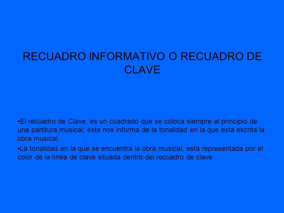 RECUADRO INFORMATIVO O RECUADRO DE CLAVE El recuadro de Clave, es un cuadrado que se coloca siempre al principio de una partitura musical; éste nos in