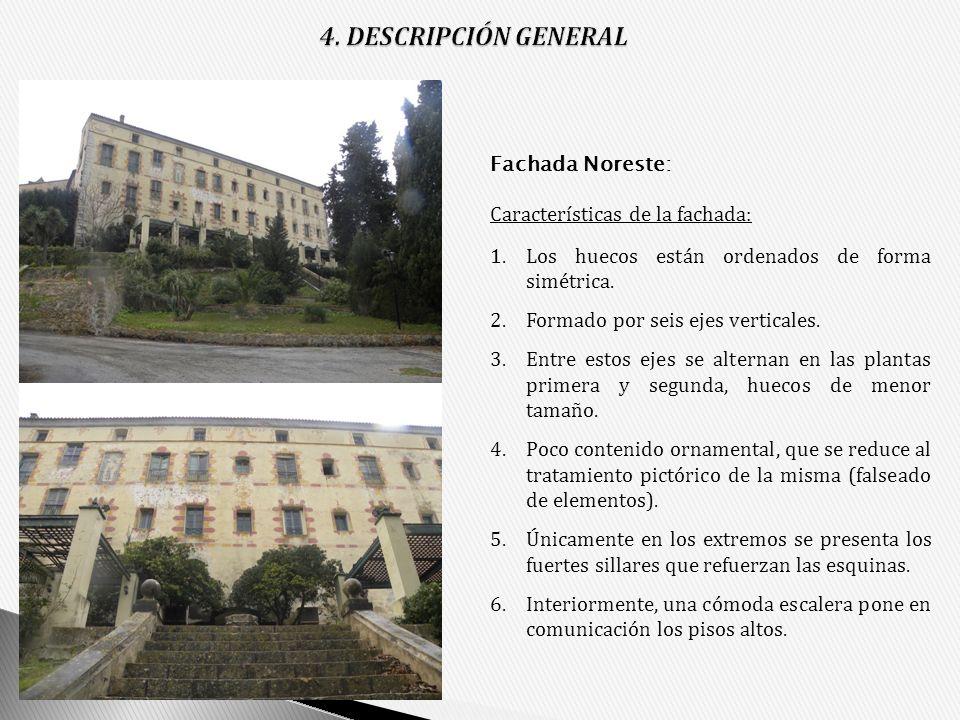Características de la fachada: 1.Los huecos están ordenados de forma simétrica. 2.Formado por seis ejes verticales. 3.Entre estos ejes se alternan en