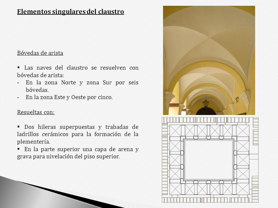 Elementos singulares del claustro Bóvedas de arista Las naves del claustro se resuelven con bóvedas de arista: -En la zona Norte y zona Sur por seis b