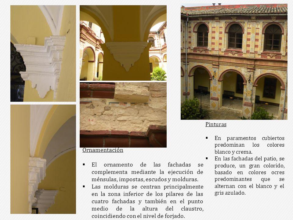 Pinturas En paramentos cubiertos predominan los colores blanco y crema. En las fachadas del patio, se produce, un gran colorido, basado en colores ocr