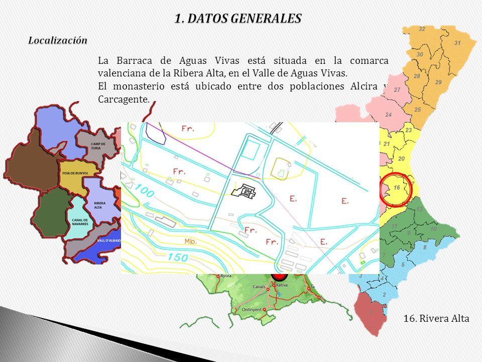 La Barraca de Aguas Vivas está situada en la comarca valenciana de la Ribera Alta, en el Valle de Aguas Vivas. El monasterio está ubicado entre dos po
