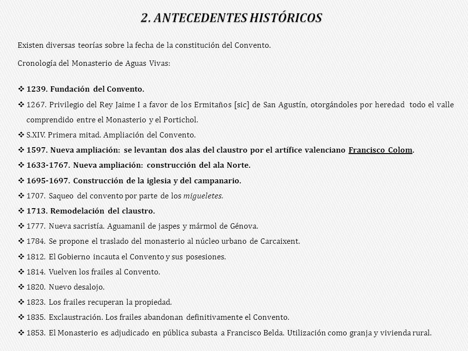 Existen diversas teorías sobre la fecha de la constitución del Convento. Cronología del Monasterio de Aguas Vivas: 1239. Fundación del Convento. 1267.