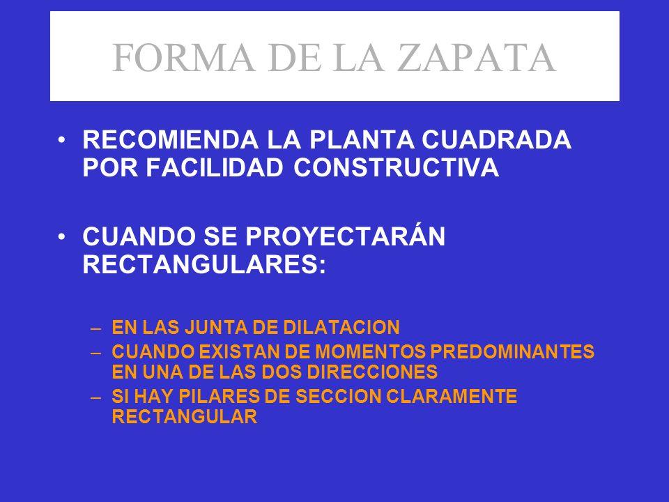 FORMA DE LA ZAPATA RECOMIENDA LA PLANTA CUADRADA POR FACILIDAD CONSTRUCTIVA CUANDO SE PROYECTARÁN RECTANGULARES: –EN LAS JUNTA DE DILATACION –CUANDO E