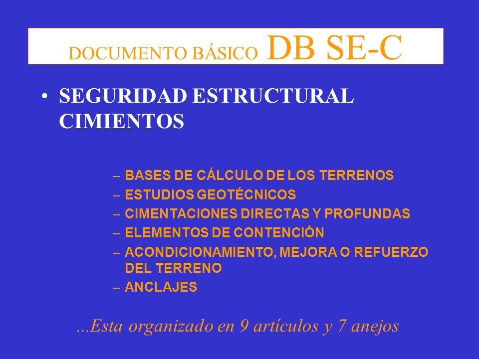 DOCUMENTO BÁSICO DB SE-C SEGURIDAD ESTRUCTURAL CIMIENTOS –BASES DE CÁLCULO DE LOS TERRENOS –ESTUDIOS GEOTÉCNICOS –CIMENTACIONES DIRECTAS Y PROFUNDAS –