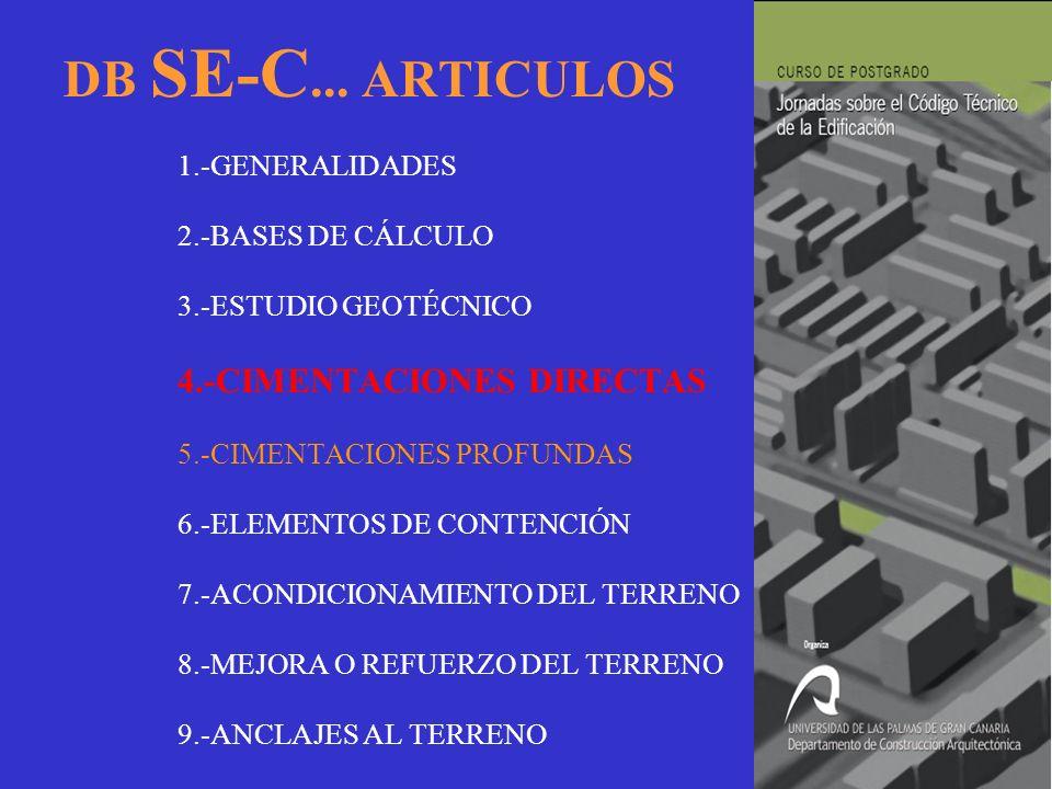 DB SE-C... ARTICULOS 1.-GENERALIDADES 2.-BASES DE CÁLCULO 3.-ESTUDIO GEOTÉCNICO 4.-CIMENTACIONES DIRECTAS 5.-CIMENTACIONES PROFUNDAS 6.-ELEMENTOS DE C