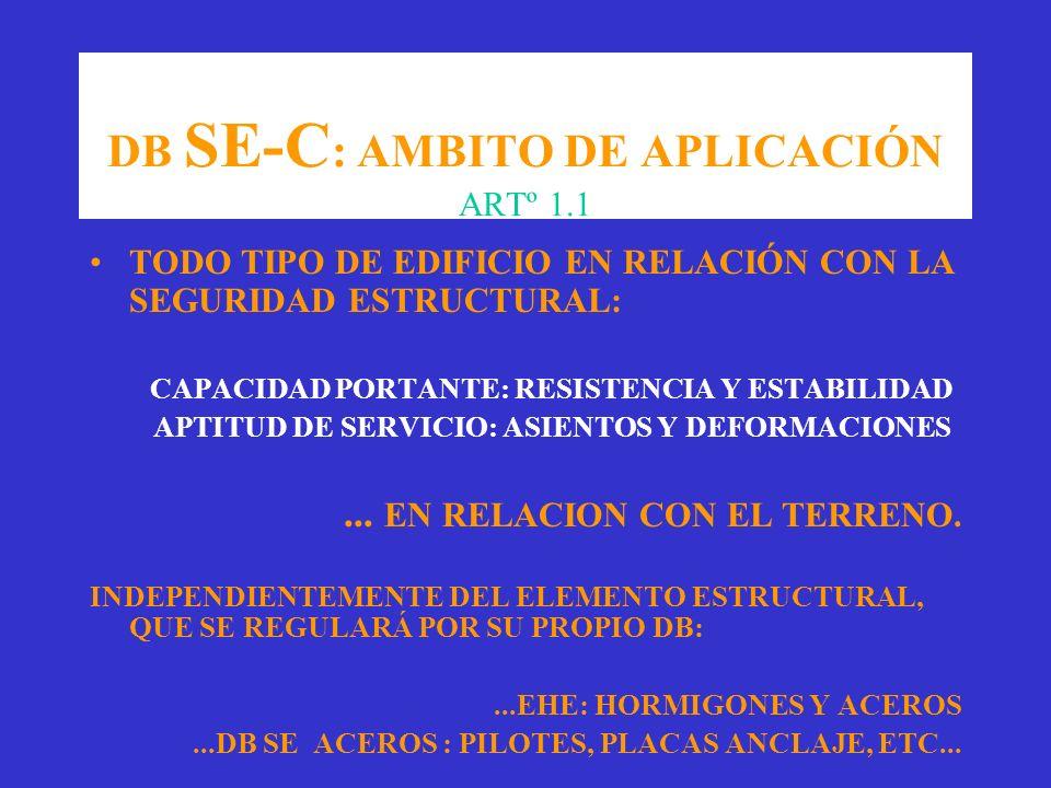 DB SE-C : AMBITO DE APLICACIÓN ARTº 1.1 TODO TIPO DE EDIFICIO EN RELACIÓN CON LA SEGURIDAD ESTRUCTURAL: CAPACIDAD PORTANTE: RESISTENCIA Y ESTABILIDAD