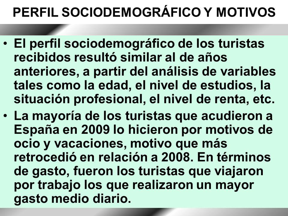 12 PERFIL SOCIODEMOGRÁFICO Y MOTIVOS El perfil sociodemográfico de los turistas recibidos resultó similar al de años anteriores, a partir del análisis de variables tales como la edad, el nivel de estudios, la situación profesional, el nivel de renta, etc.