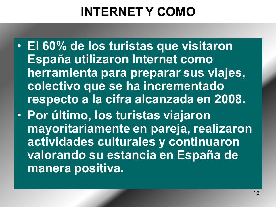 16 INTERNET Y COMO El 60% de los turistas que visitaron España utilizaron Internet como herramienta para preparar sus viajes, colectivo que se ha incrementado respecto a la cifra alcanzada en 2008.
