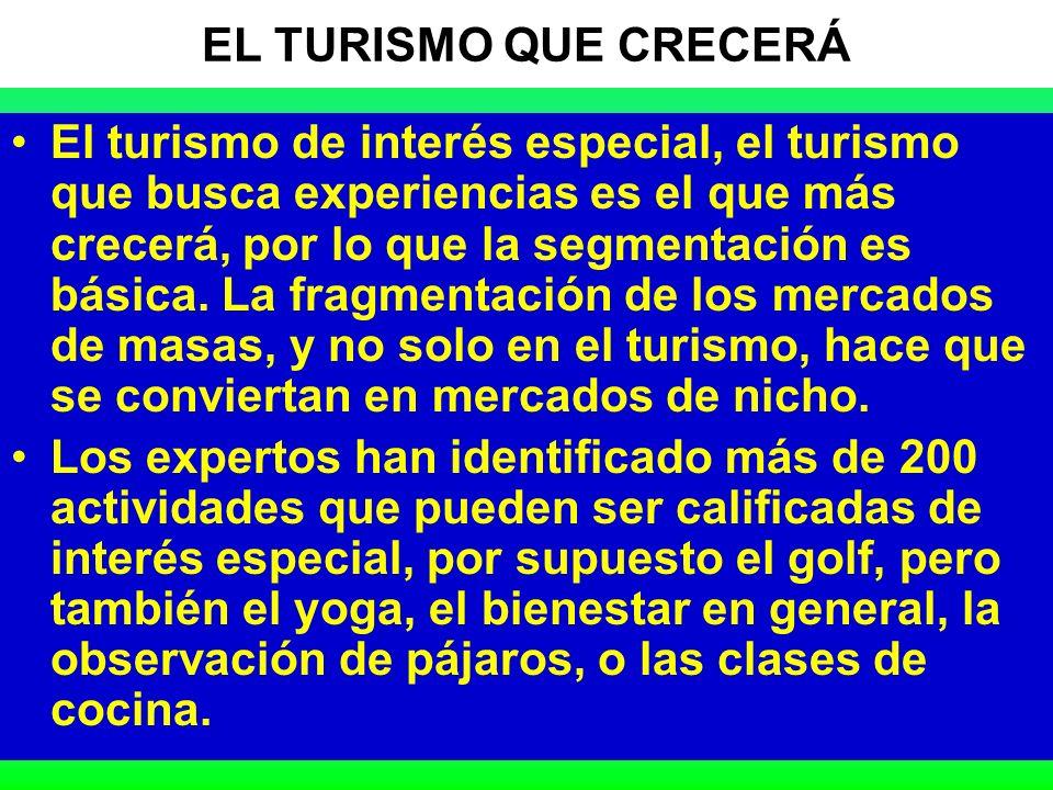 18 EL TURISMO QUE CRECERÁ El turismo de interés especial, el turismo que busca experiencias es el que más crecerá, por lo que la segmentación es básica.