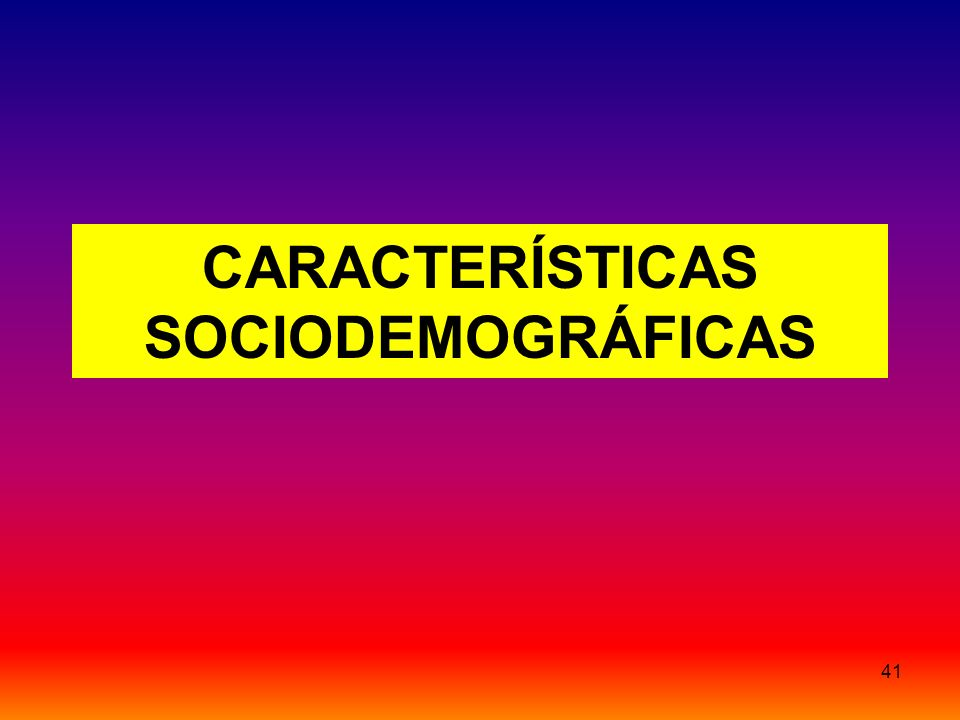 41 CARACTERÍSTICAS SOCIODEMOGRÁFICAS