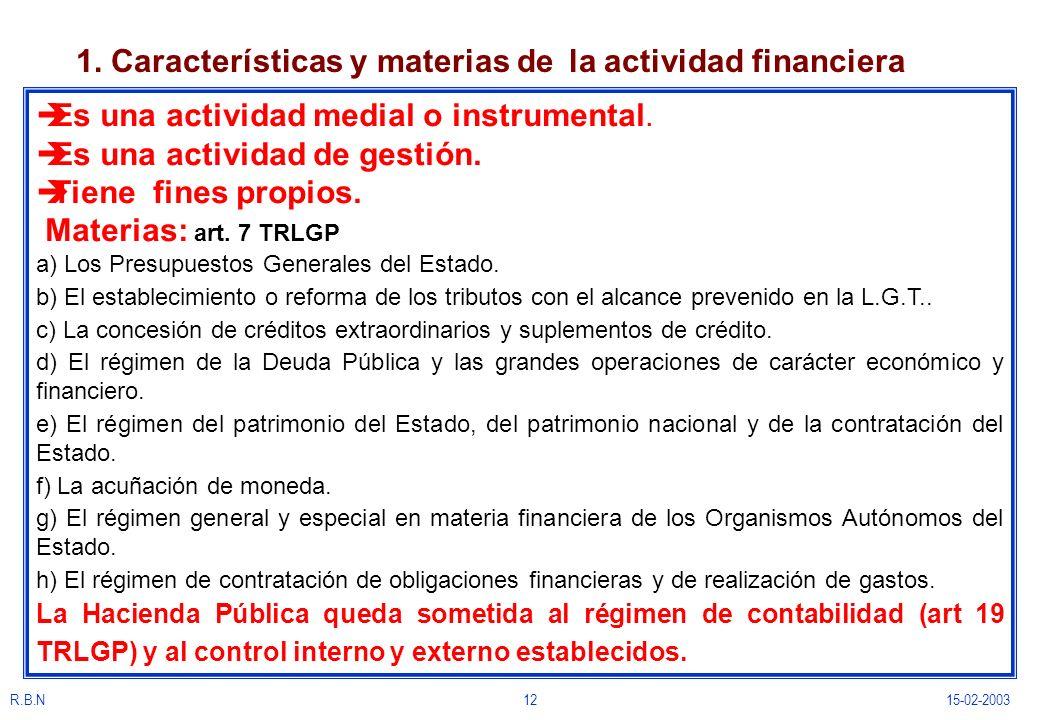 R.B.N1215-02-2003 1. Características y materias de la actividad financiera èEs una actividad medial o instrumental. èEs una actividad de gestión. èTie