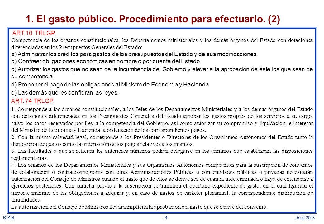 R.B.N1415-02-2003 1. El gasto público. Procedimiento para efectuarlo. (2) ART.10 TRLGP. Competencia de los órganos constitucionales, los Departamentos