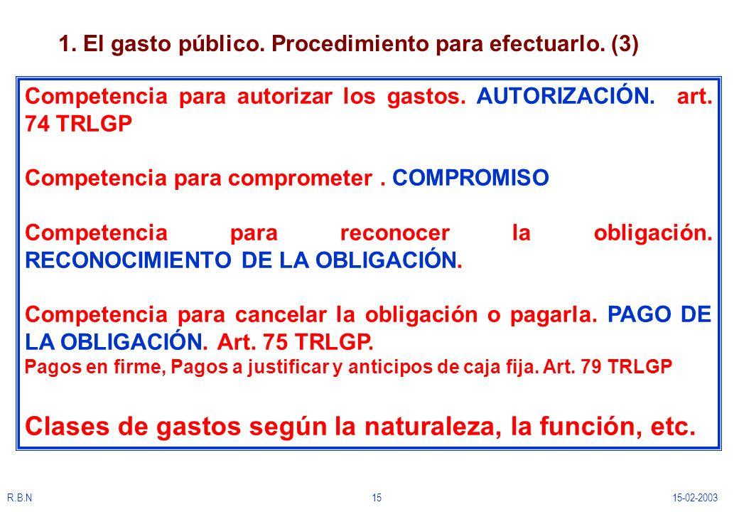 R.B.N1515-02-2003 1. El gasto público. Procedimiento para efectuarlo. (3) Competencia para autorizar los gastos. AUTORIZACIÓN. art. 74 TRLGP Competenc