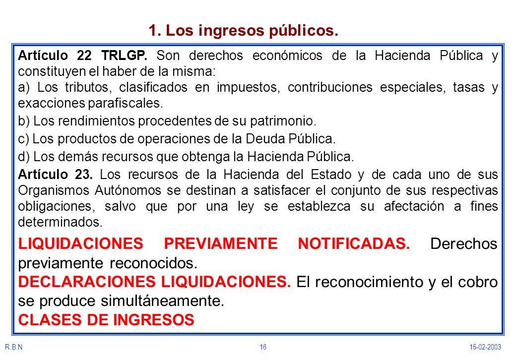 R.B.N1615-02-2003 1. Los ingresos públicos. Artículo 22 TRLGP. Son derechos económicos de la Hacienda Pública y constituyen el haber de la misma: a) L