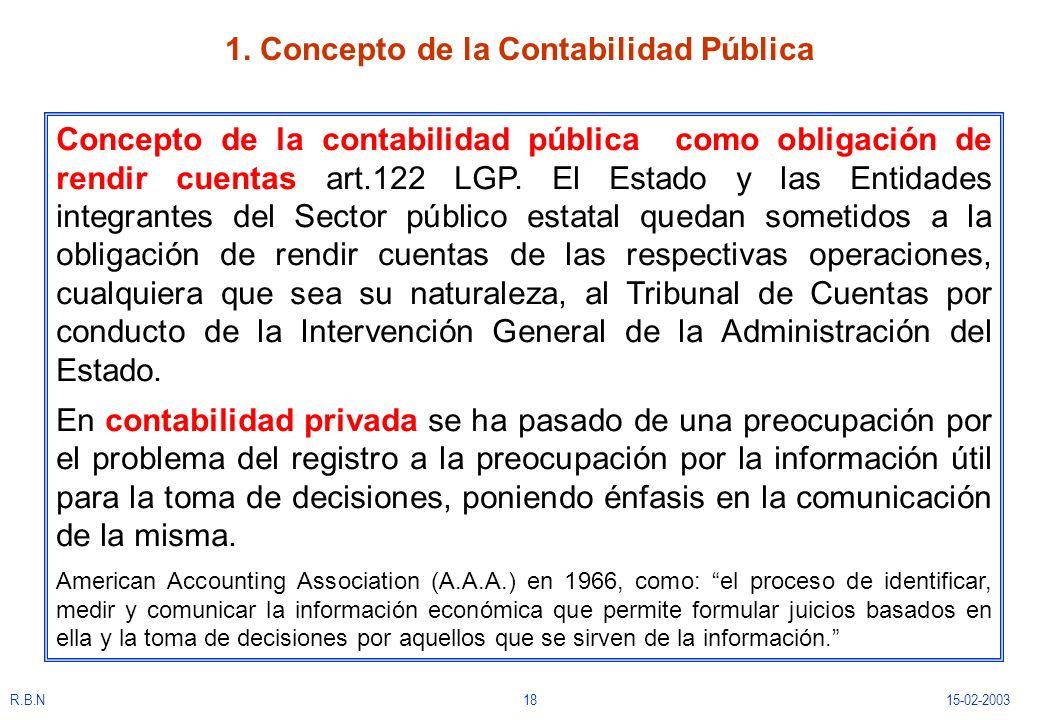 R.B.N1815-02-2003 1. Concepto de la Contabilidad Pública Concepto de la contabilidad pública como obligación de rendir cuentas art.122 LGP. El Estado