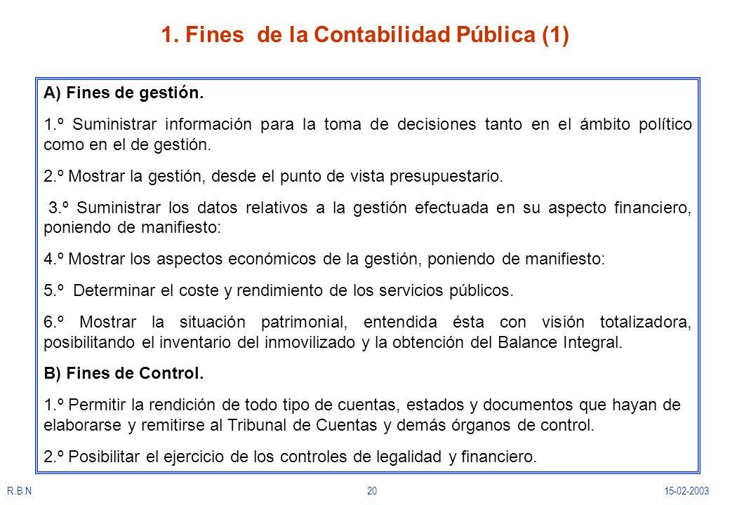 R.B.N2015-02-2003 1. Fines de la Contabilidad Pública (1) A) Fines de gestión. 1.º Suministrar información para la toma de decisiones tanto en el ámbi