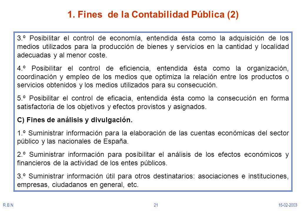 R.B.N2115-02-2003 1. Fines de la Contabilidad Pública (2) 3.º Posibilitar el control de economía, entendida ésta como la adquisición de los medios uti