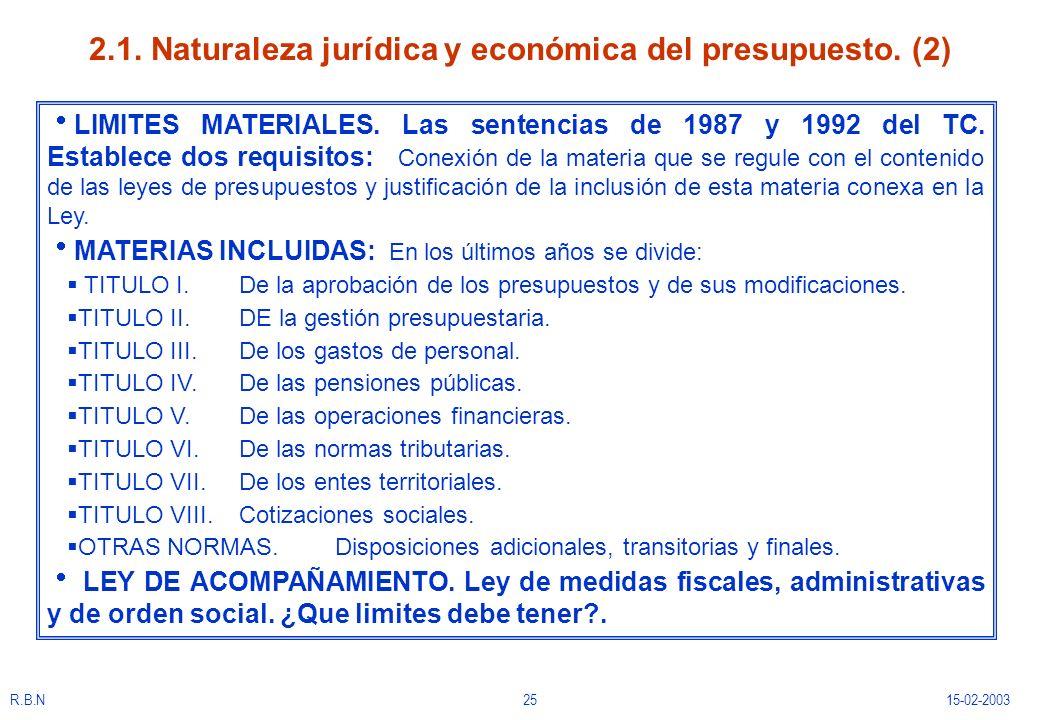 R.B.N2515-02-2003 2.1. Naturaleza jurídica y económica del presupuesto. (2) LIMITES MATERIALES. Las sentencias de 1987 y 1992 del TC. Establece dos re