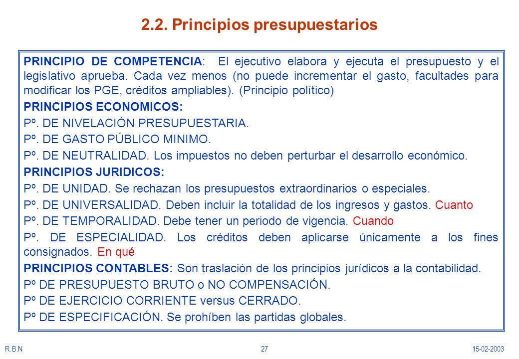R.B.N2715-02-2003 2.2. Principios presupuestarios PRINCIPIO DE COMPETENCIA: El ejecutivo elabora y ejecuta el presupuesto y el legislativo aprueba. Ca