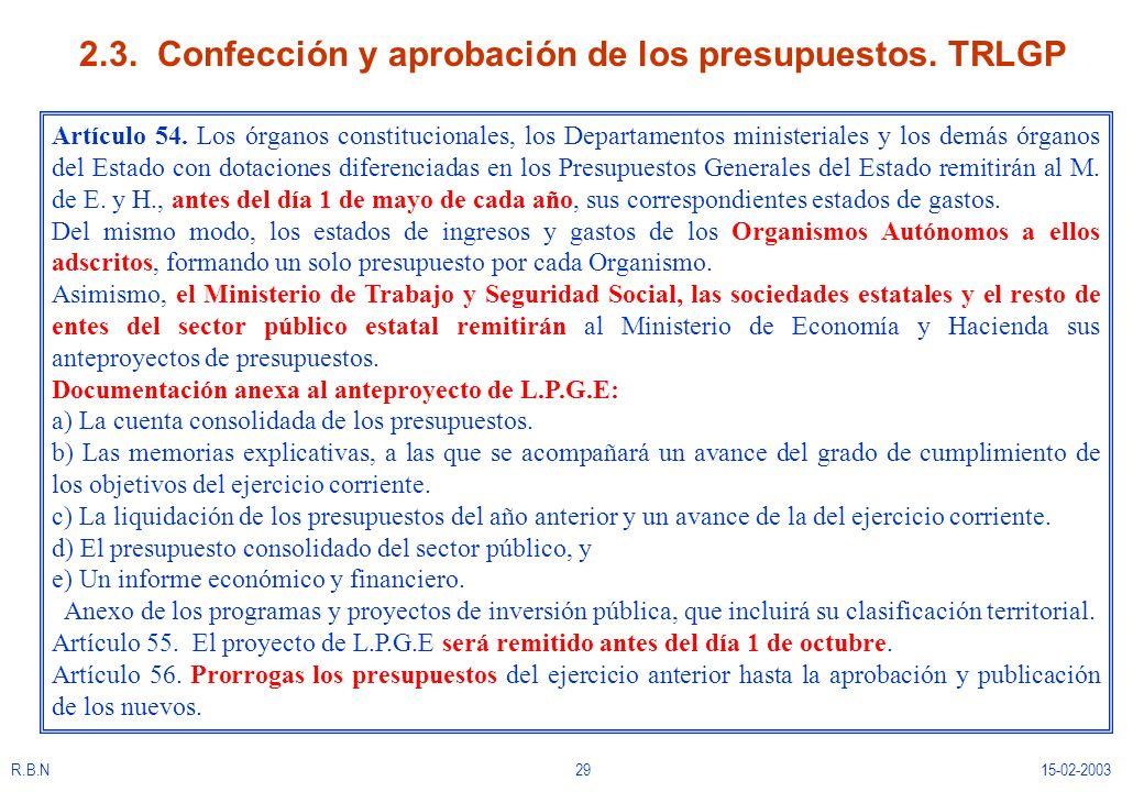 R.B.N2915-02-2003 2.3. Confección y aprobación de los presupuestos. TRLGP Artículo 54. Los órganos constitucionales, los Departamentos ministeriales y