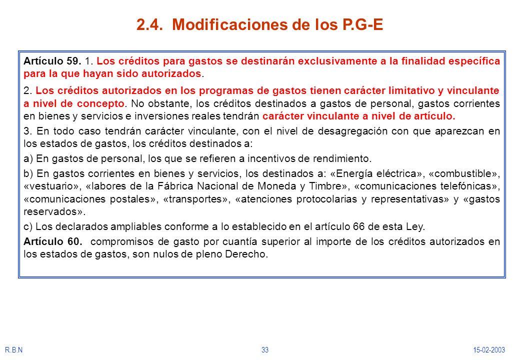 R.B.N3315-02-2003 2.4. Modificaciones de los P.G-E Artículo 59. 1. Los créditos para gastos se destinarán exclusivamente a la finalidad específica par