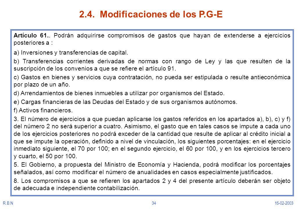R.B.N3415-02-2003 2.4. Modificaciones de los P.G-E Artículo 61.. Podrán adquirirse compromisos de gastos que hayan de extenderse a ejercicios posterio
