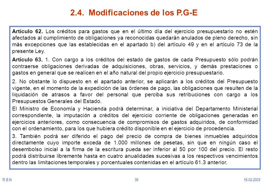 R.B.N3515-02-2003 2.4. Modificaciones de los P.G-E Artículo 62. Los créditos para gastos que en el último día del ejercicio presupuestario no estén af