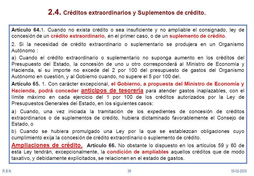 R.B.N3615-02-2003 2.4. Créditos extraordinarios y Suplementos de crédito. Artículo 64.1. Cuando no exista crédito o sea insuficiente y no ampliable el