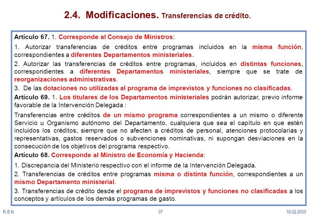 R.B.N3715-02-2003 2.4. Modificaciones. Transferencias de crédito. Artículo 67. 1. Corresponde al Consejo de Ministros: 1. Autorizar transferencias de