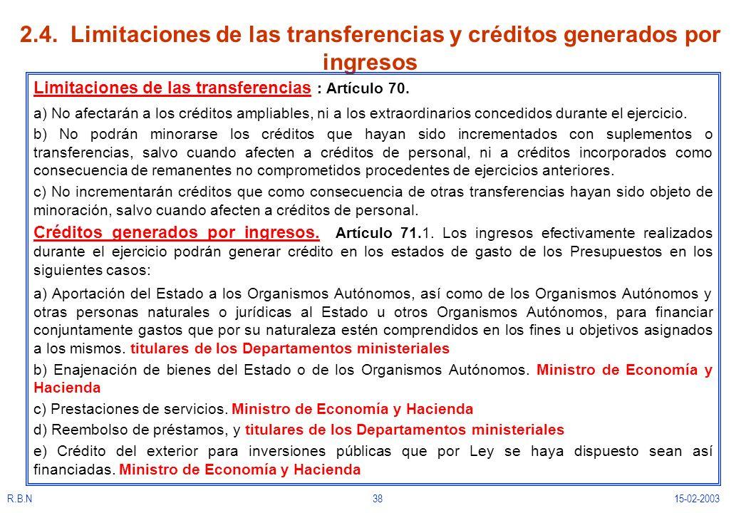 R.B.N3815-02-2003 2.4. Limitaciones de las transferencias y créditos generados por ingresos Limitaciones de las transferencias : Artículo 70. a) No af