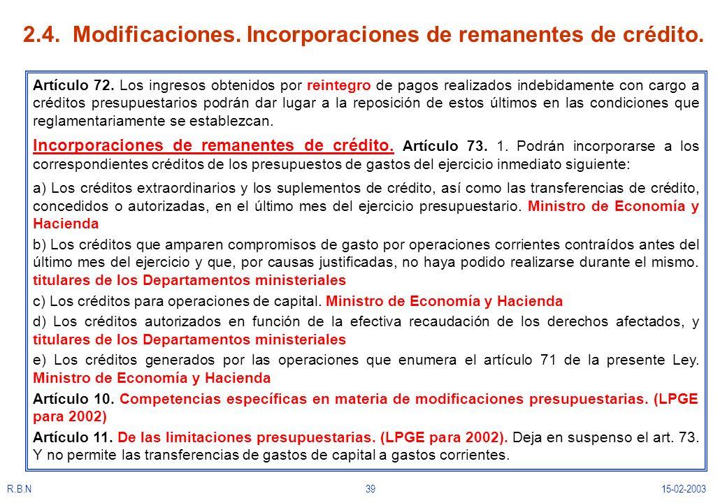 R.B.N3915-02-2003 2.4. Modificaciones. Incorporaciones de remanentes de crédito. Artículo 72. Los ingresos obtenidos por reintegro de pagos realizados