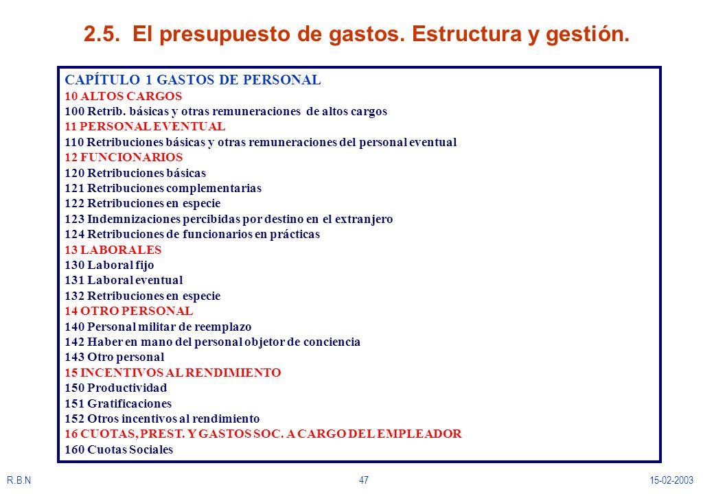 R.B.N4715-02-2003 2.5. El presupuesto de gastos. Estructura y gestión. CAPÍTULO 1 GASTOS DE PERSONAL 10 ALTOS CARGOS 100 Retrib. básicas y otras remun